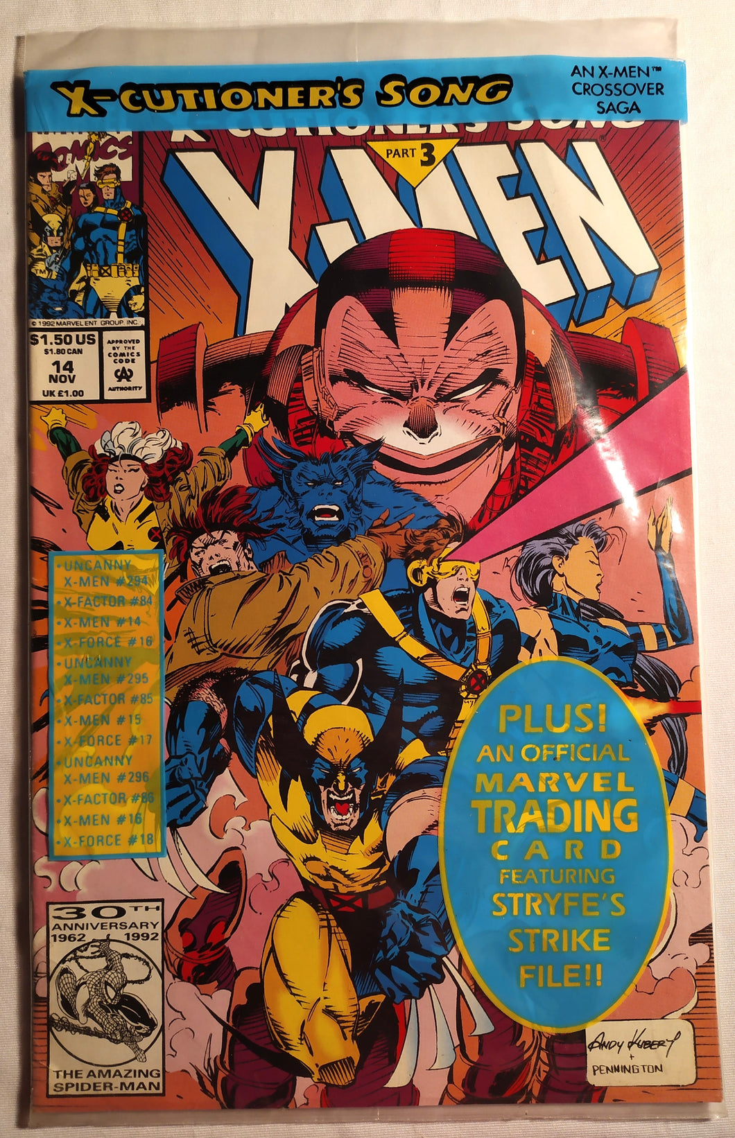 X-Men #14 - X-Cutioners Song Part 3 - In Original Sleeve with Trading Card!