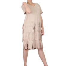 Load image into Gallery viewer, Way Beyoung Brown Stretch V-Neck Short Sleeve Ruffle Tassels Front Dress