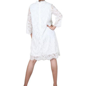 Way Beyoung White Long Sleeve Lace Knee-High Dress