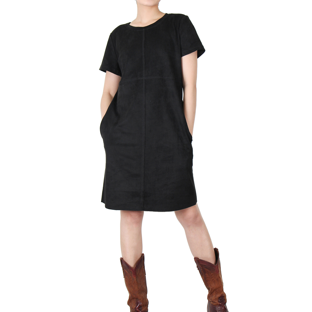 Way Beyoung Women's Black Stretch Short Sleeve Knee High Dress