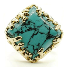 Load image into Gallery viewer, Coral Wrapped Offset Square Simulated Turquoise Stone Adjustable