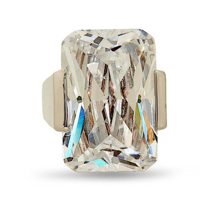 Huge Emerald Cut Clear Stone Statement Ring