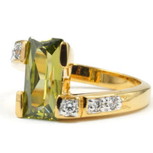 Load image into Gallery viewer, Special Rectangular Olivine Two Tone Offset Ring