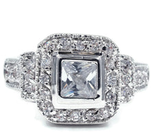 Load image into Gallery viewer, Vintage Look Bezel Set Princess Cut Ring