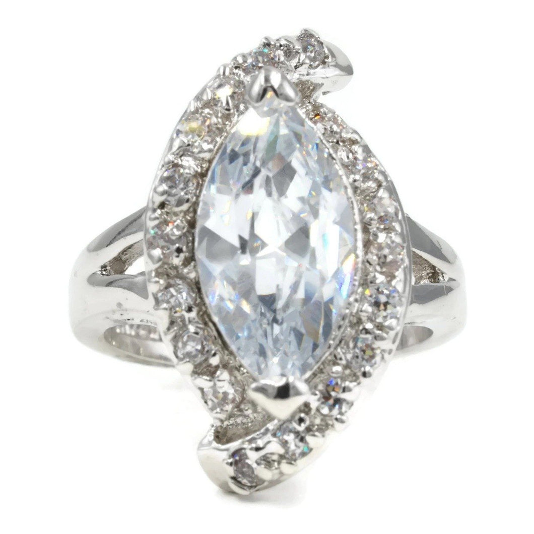 Large Marquise Single Stone Asymmetrical Ring
