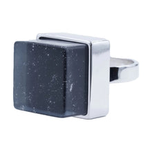 Load image into Gallery viewer, Large Raw Crystal Cube Stone Silvertone Fashion Ring