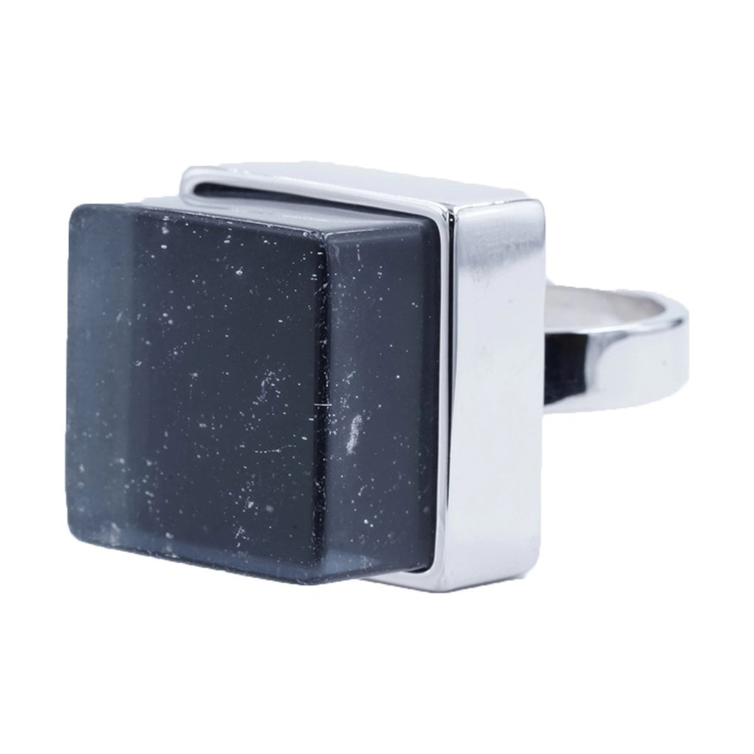 Large Raw Crystal Cube Stone Silvertone Fashion Ring
