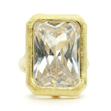 Load image into Gallery viewer, Huge Bezel Set Emerald Cut Clear Brushed Gold Ring