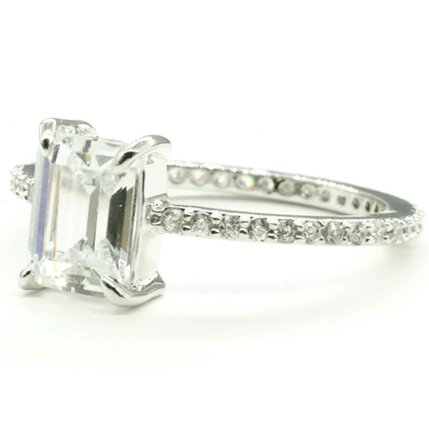 Emerald Cut Clear Cubic Zirconia Micro Pave Engagement Style