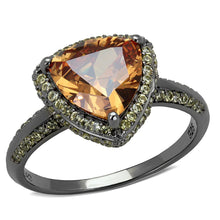 Load image into Gallery viewer, Ruthenium 925 Sterling Silver Ring with AAA Grade CZ in Champagne