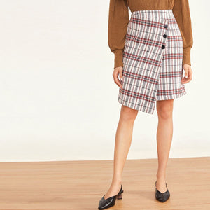 Plaid Button Front Asymmetrical Hem Wrap Skirt