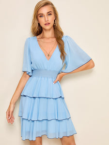 Layered Ruffle Hem Shirred Waist Dress