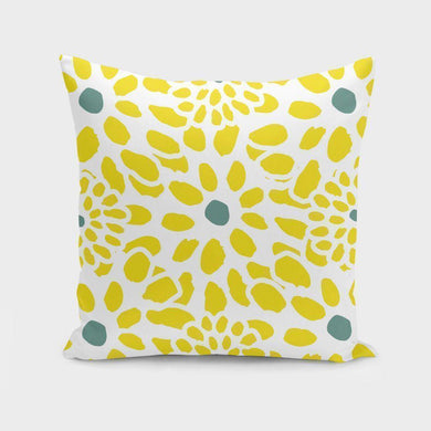 Flowers in Yellow Cushion/Pillow