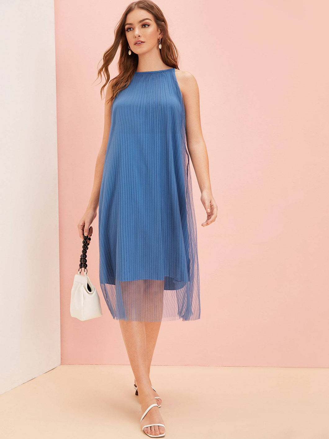 Mesh Overlay Plisse Solid Dress