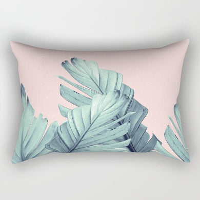 Leafs on Baby Pink Rectangle Pillow