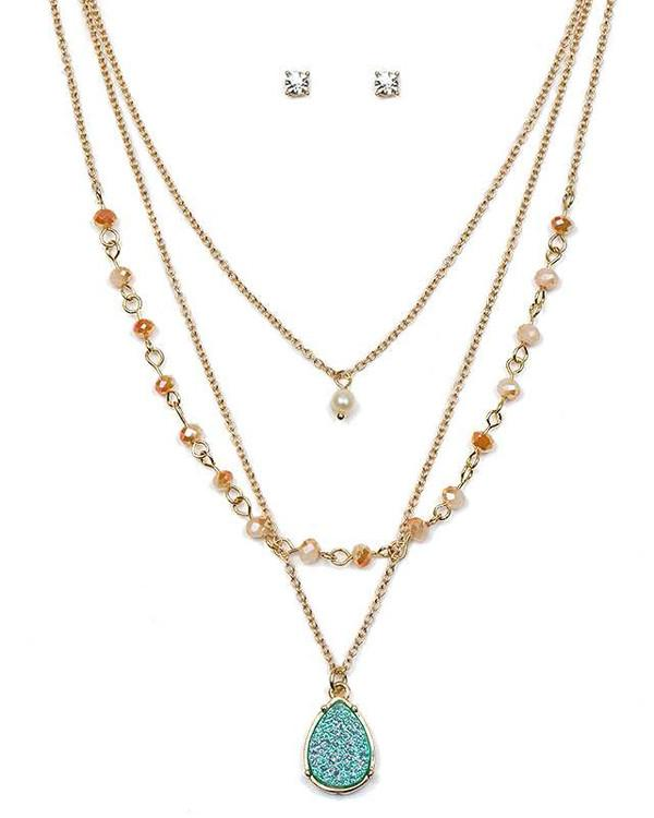 Teardrop Druzy Triple Layer Necklace Set