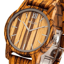 Load image into Gallery viewer, Men's Handmade Engraved Zebra Wooden Timepiece - Personal Message on the Watch