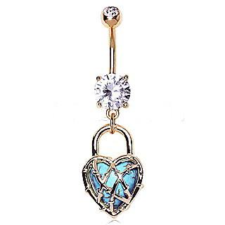 Gold Plated CZ Locked Turquoise Heart Dangle Navel Ring