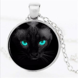 Black Cat with Blue Eyes Pendant Necklace