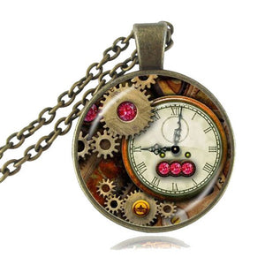 Steampunk Clock and Gears Pendant Necklace