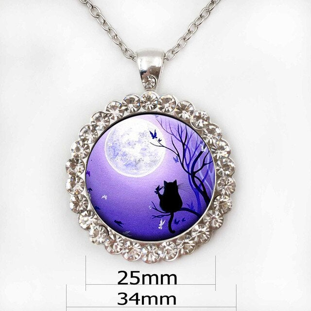 The Cat and The Moon Pendant Necklace