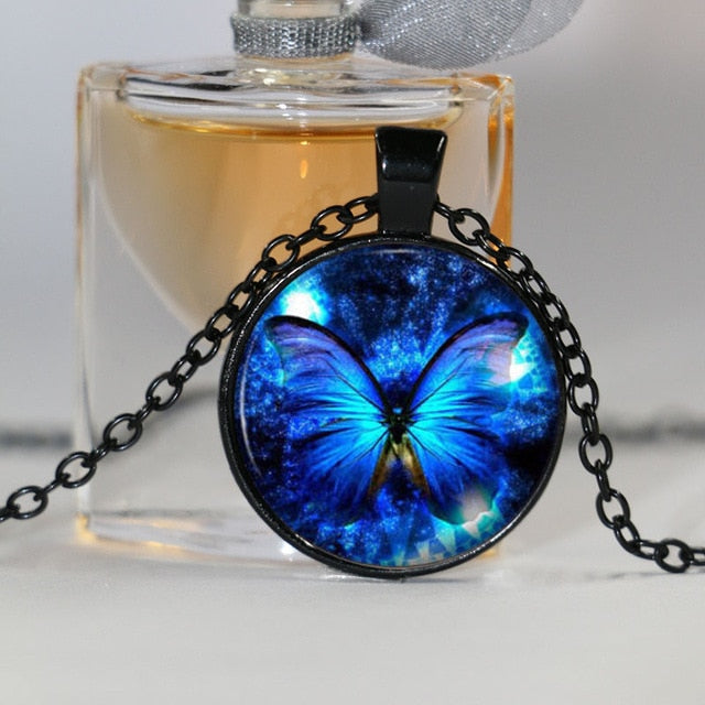 Blue Butterfly Pendant Necklace