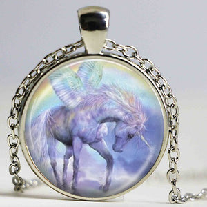 Winged Unicorn Pendant Necklace