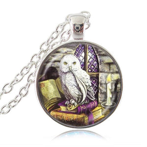 Owl and Book Pendant Necklace