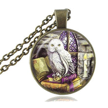 Load image into Gallery viewer, Owl and Book Pendant Necklace