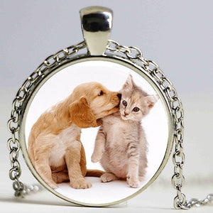 Cute Dog and Cat Pendant Necklace
