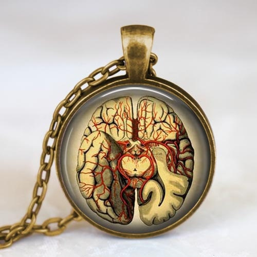 Steampunk Anatomical Brain Pendant Necklace
