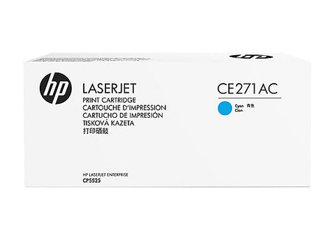 HP 650A (CE271AC) Color LaserJet CP5525 M750 Cyan Original LaserJet Contract Toner Cartridge (15000 Yield)