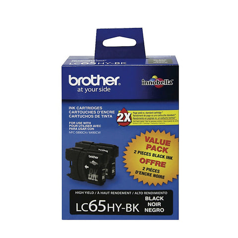 Brother MFC-5890CN 5895CW 6490CW 6890CDW Black Ink Cartridge Twin Pack (2 Pack of OEM# LC65HYBK) (2 x 900 Yield)