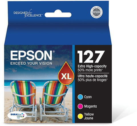 Epson (127) Stylus NX530 NX625 Workforce 60 545 630 633 635 645 840 845 3520 7010 7510 Extra High Capacity Cyan/Magenta/Yellow Ink Cartridge Multipack (3 x 755 Yield)