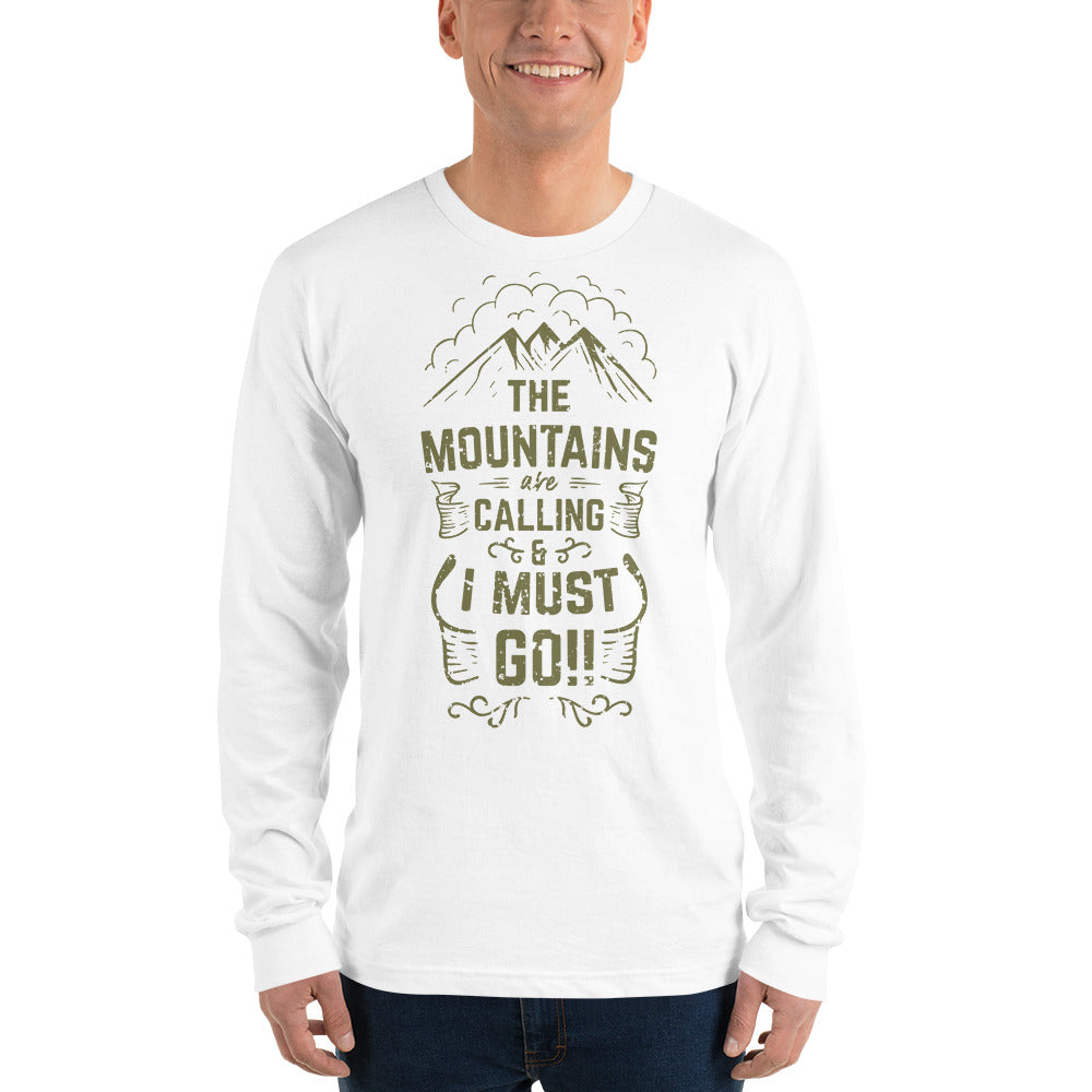 Men's Long sleeve t-shirt 'The Mountains are Calling' Slogan