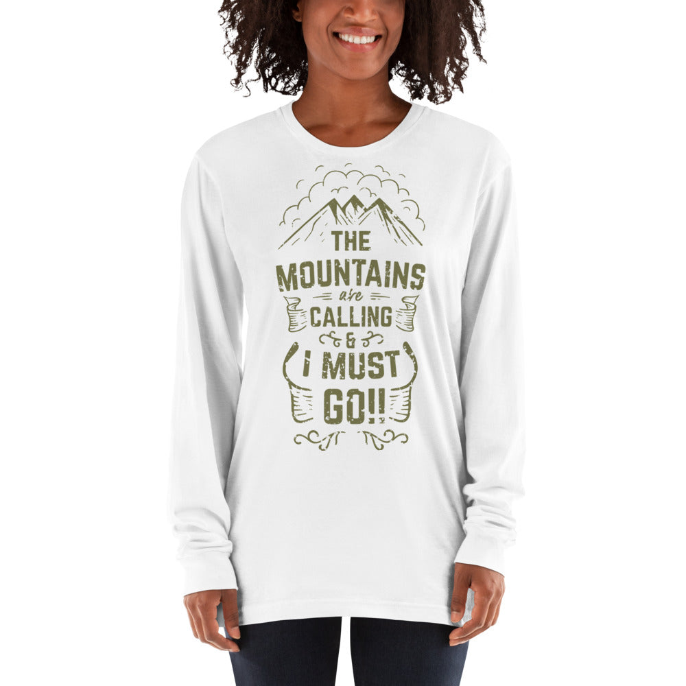 Women's Long sleeve t-shirt 'The Mountains are Calling' Slogan