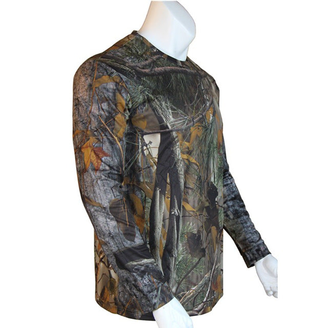 Fat Camouflage Hunting Long-Sleeve T-shirt - Wicking, Antibacterial, Deodorant, Breathable, Camouflage, Training Suit