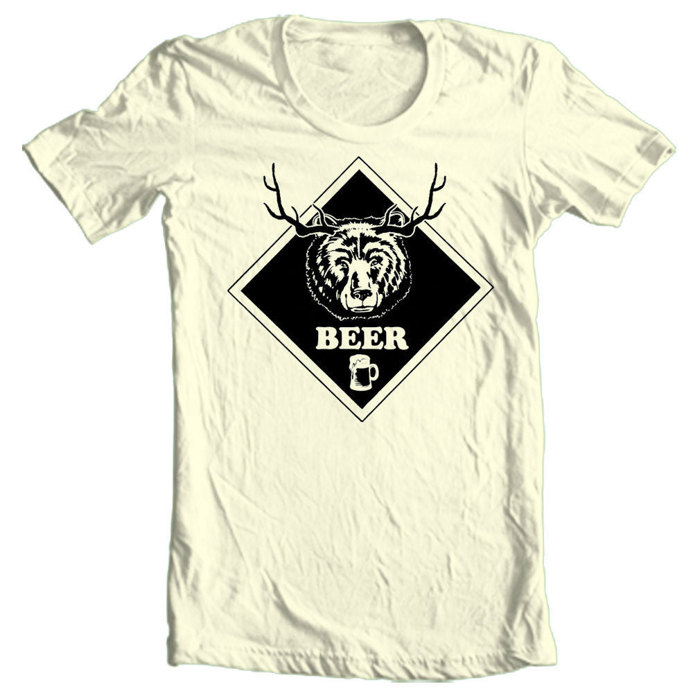 BEER T-shirt Bear Deer funny hunting novelty 100% cotton graphic tee