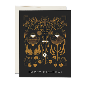 Amber Floral Geometry Birthday Card