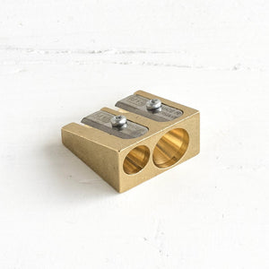 Brass Double Wedge Pencil Sharpener