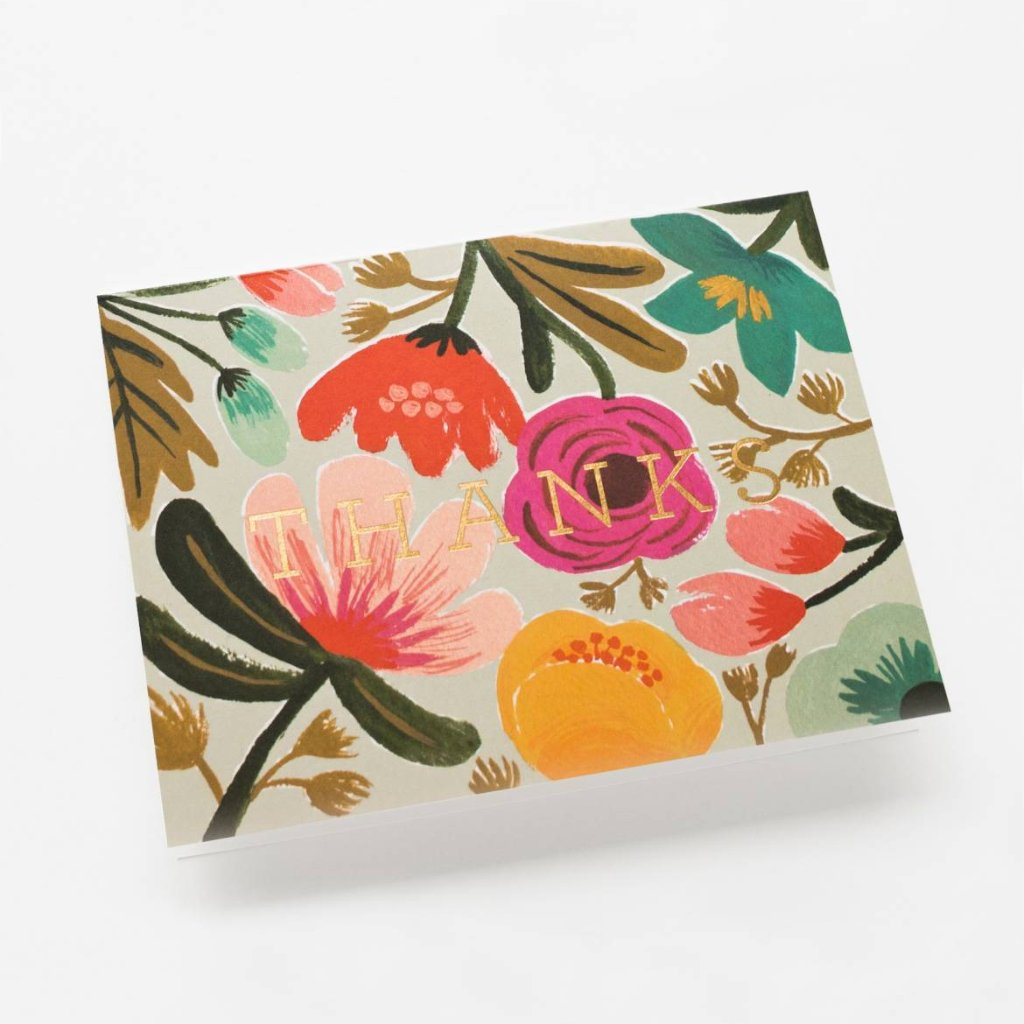 Gold Floral Thanks Card (Single or Set)
