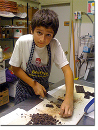 Jennifer's son helping out in the kitchen
