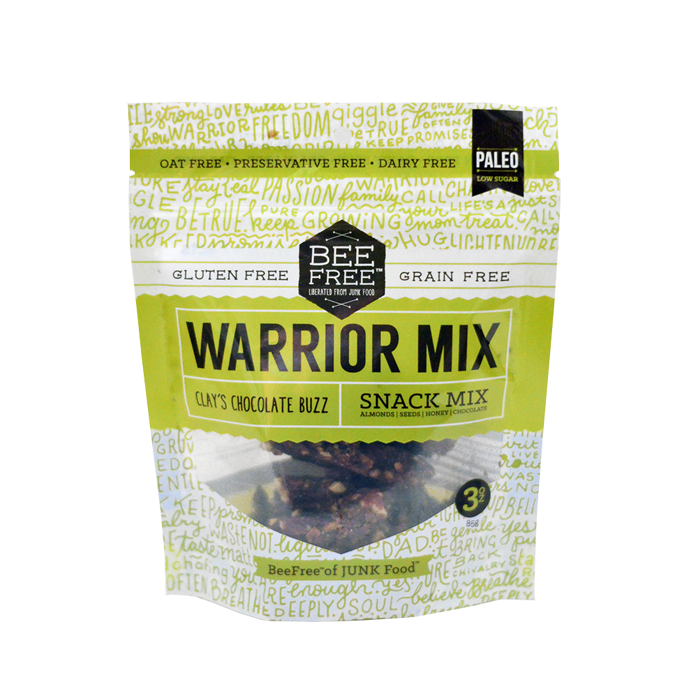 BeeFree Gluten-Free Bakery Clay's Chocolate Buzz WARRIOR MIX 3oz case (6 bags)