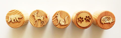 WOODLAND ANIMALS Playdough Stamper Sets - 5 Stamps