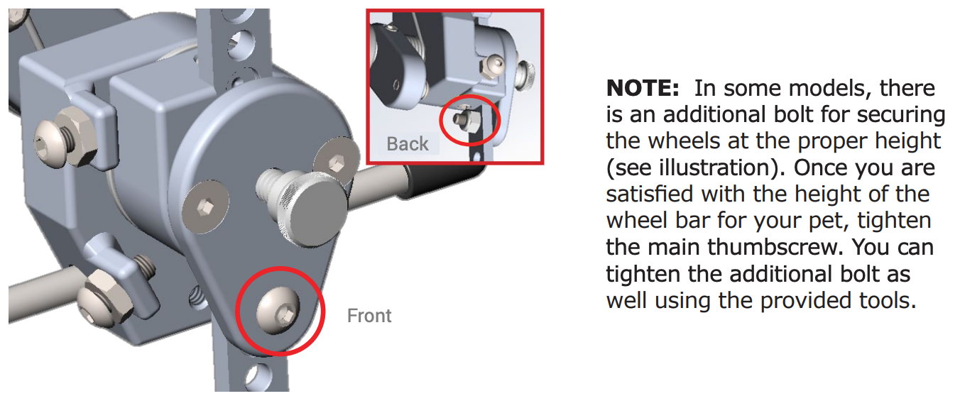 Sitgo - additional bolt for securing the wheels