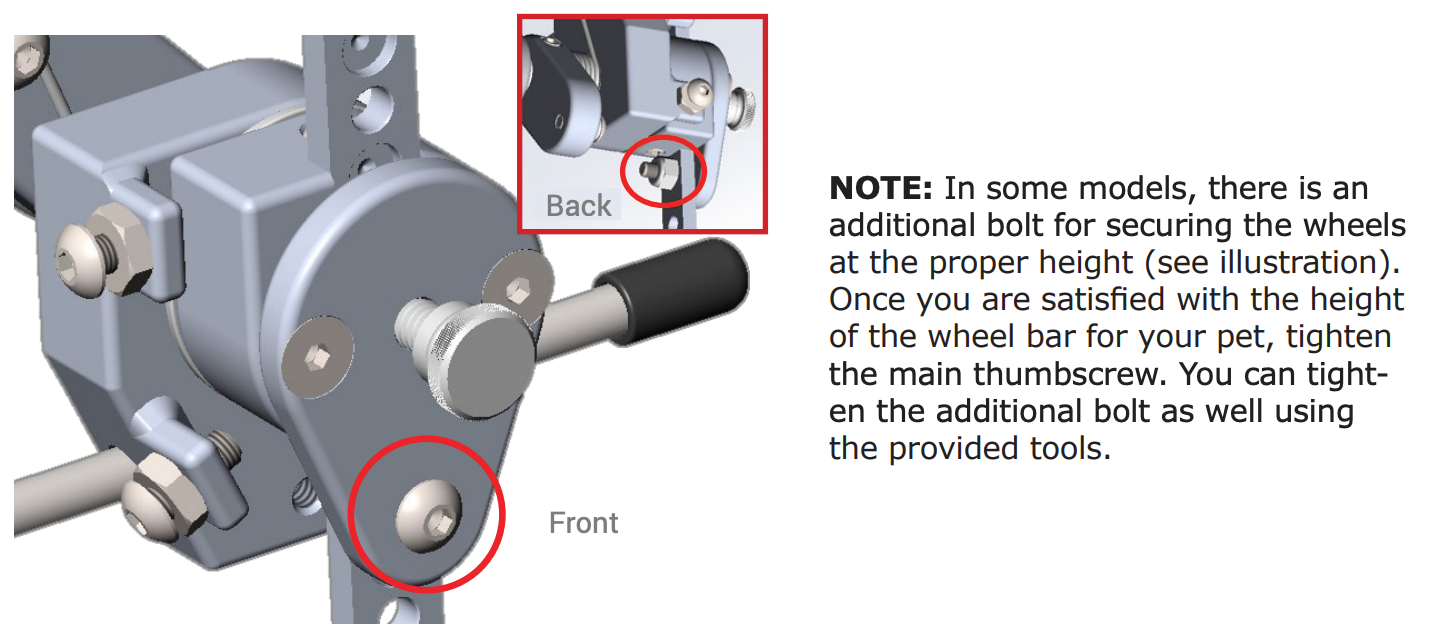 Bolt for securing the wheels at the proper height