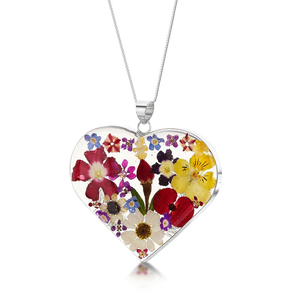 Sterling Silver Large heart with mixed flowers pendant