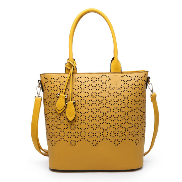 Mustard leather effect cut out detail large bag
