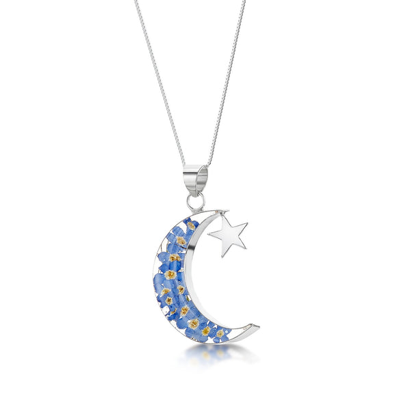 Sterling Silver Moon & Star Forget me not Pendant