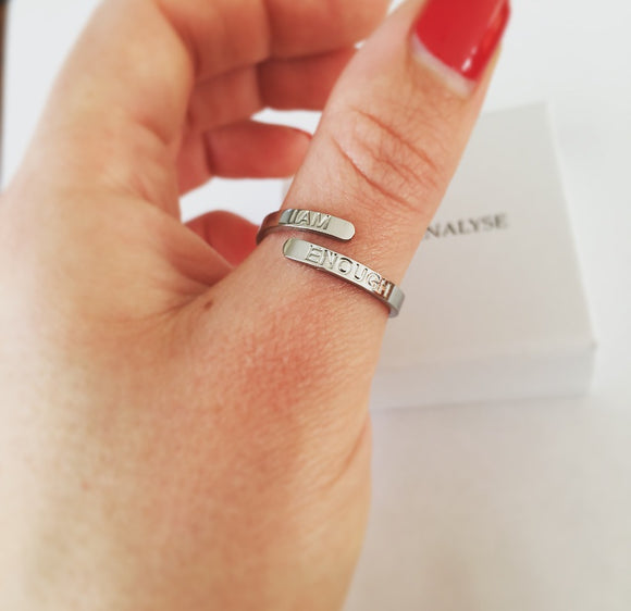 'I AM ENOUGH' Affirmation Ring - Silver